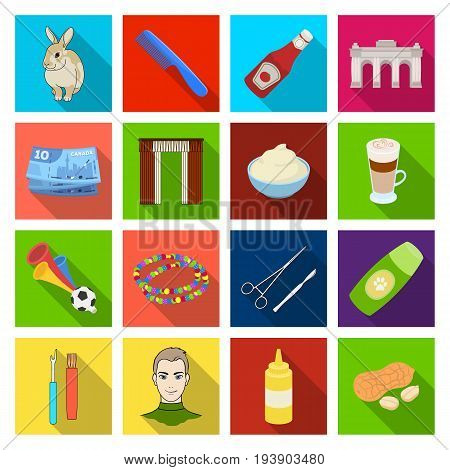 fast food, business and other  icon in flat style.dessert, shopping, medica icons in set collection.