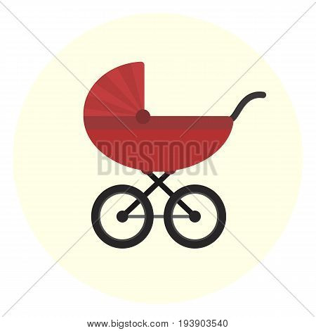 Flat red vector baby carriage icon. Unisex baby transport. Cute colorful baby girl and boy pram symbol