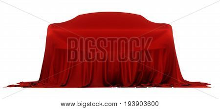 New racing design car covered with red cloth. 3d rendering illustration. Shallow DOF shallow focus