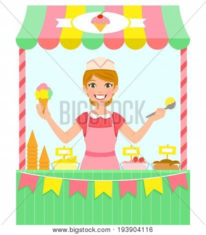 happy young woman selling ice cream in a stall