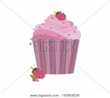 Cupcakes desserts Vector design. Delicious cupcakes set. Sweet raspberry flavors Vector illustration