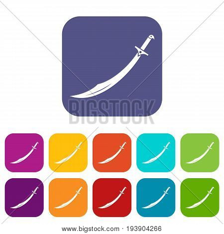 Scimitar sword icons set vector illustration in flat style In colors red, blue, green and other