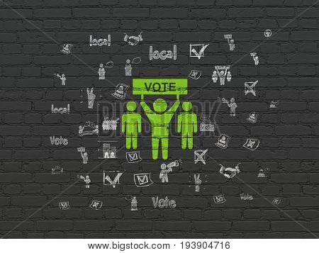 Politics concept: Painted green Election Campaign icon on Black Brick wall background with  Hand Drawn Politics Icons