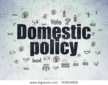 Political concept: Painted black text Domestic Policy on Digital Data Paper background with  Hand Drawn Politics Icons