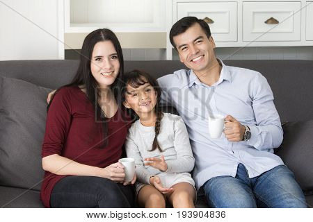 Happy Family Looking To Camera With Smiling, Happy Family Concept, 3 Person.