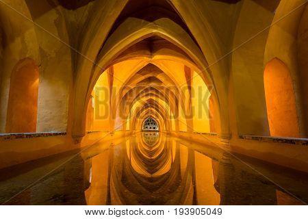 Rainwater Baths, Alcazar, Seville, Andalucia, Spain