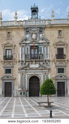 Granada City hall near to the Alhambra Palace and fortress located in Granada Andalusia Spain.