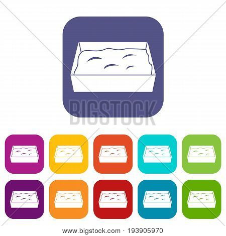 Cat toilet icons set vector illustration in flat style In colors red, blue, green and other
