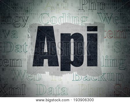 Programming concept: Painted black text Api on Digital Data Paper background with   Tag Cloud