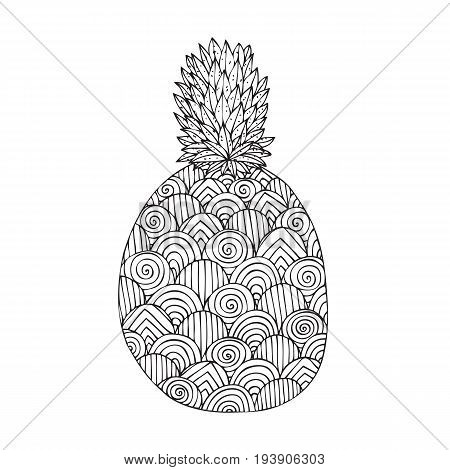 Adult coloring book page design with a picture of a pineapple. Coloring book page for adult. Vector illustration in the style of tribal design
