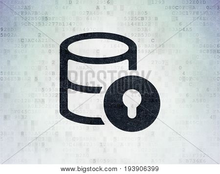 Programming concept: Painted black Database With Lock icon on Digital Data Paper background