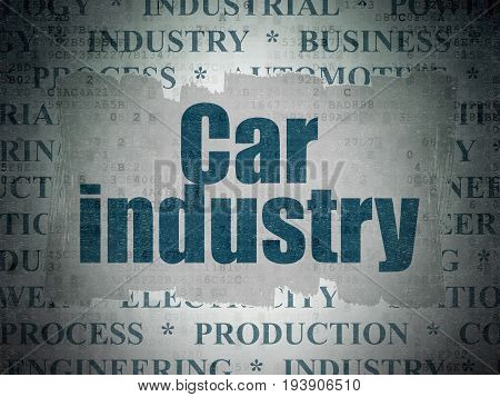 Manufacuring concept: Painted blue text Car Industry on Digital Data Paper background with   Tag Cloud
