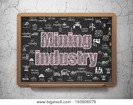 Industry concept: Chalk Pink text Mining Industry on School board background with  Hand Drawn Industry Icons, 3D Rendering