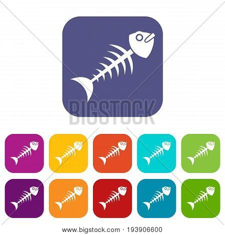 Fish bone icons set vector illustration in flat style In colors red, blue, green and other