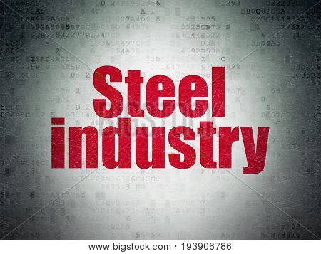 Manufacuring concept: Painted red word Steel Industry on Digital Data Paper background