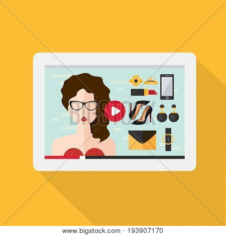 Fashionable young woman on the screen of the tablet. Vector illustration in flat style