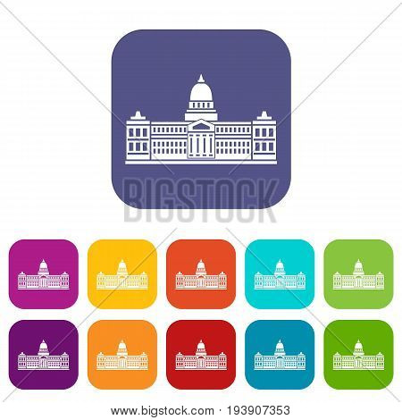 Palace of Congress in Buenos Aires, Argentina icons set vector illustration in flat style In colors red, blue, green and other