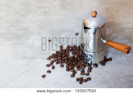 Italian Coffee Maker With Coffee Beans