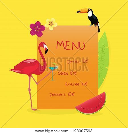 Menu Summertime. Flamingo and Toucan with drink and watermelon in tropical colors.