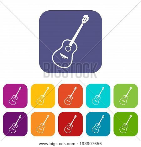 Charango icons set vector illustration in flat style In colors red, blue, green and other