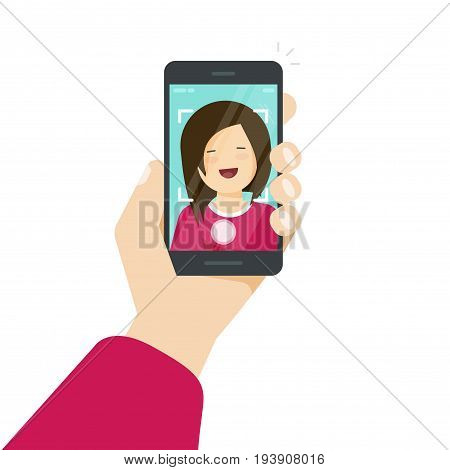 Selfie via smartphone, photo of yourself vector illustration, flat cartoon young happy girl with mobile phone in hand making self photo clipart isolated on white background