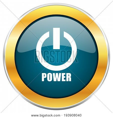 Power blue glossy round icon with golden chrome metallic border isolated on white background for web and mobile apps designers.