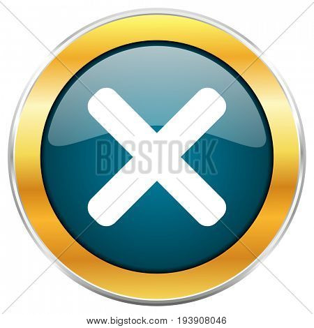 Cancel blue glossy round icon with golden chrome metallic border isolated on white background for web and mobile apps designers.