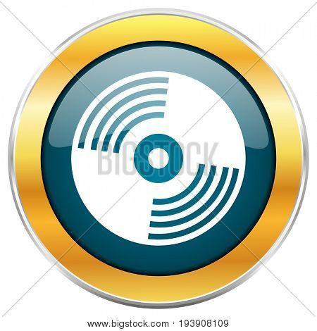 Vinyl music blue glossy round icon with golden chrome metallic border isolated on white background for web and mobile apps designers.