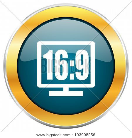 16 9 display blue glossy round icon with golden chrome metallic border isolated on white background for web and mobile apps designers.