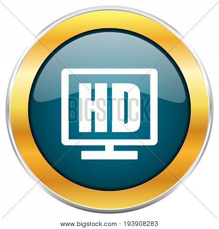 Hd display blue glossy round icon with golden chrome metallic border isolated on white background for web and mobile apps designers.