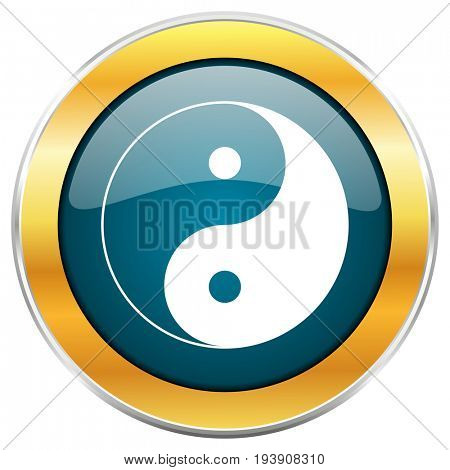 Ying yang blue glossy round icon with golden chrome metallic border isolated on white background for web and mobile apps designers.