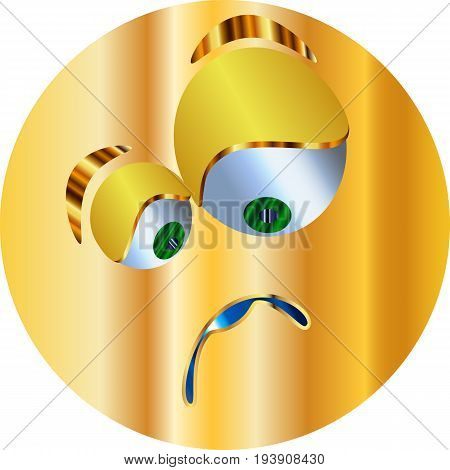 Metal Emoticon-sticker / Emoticon sad / vector