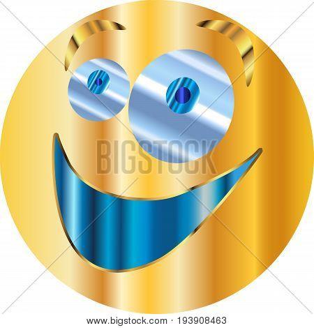 Metal Emoticon sticker / Emoticon is happy / vector