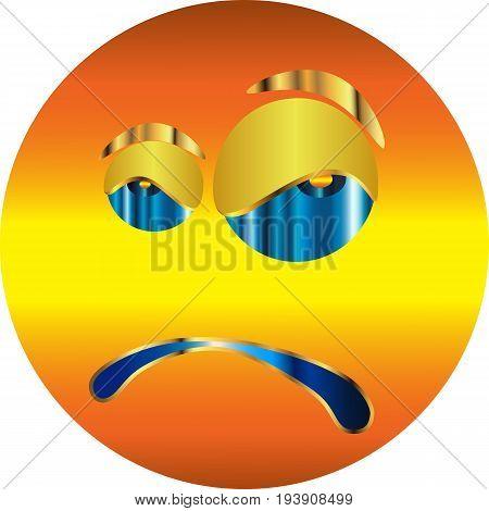 Metallic Emoticon-sticker / Angry Emoticon / vector.