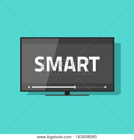 Flat screen smart tv with video vector icon, led television display with smart digital technology text