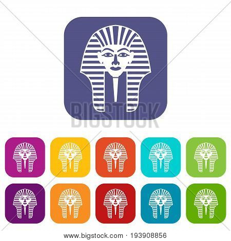 Tutankhamen mask icons set vector illustration in flat style In colors red, blue, green and other