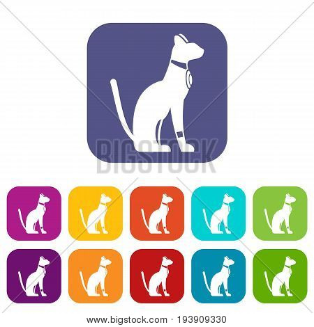 Egyptian cat icons set vector illustration in flat style In colors red, blue, green and other
