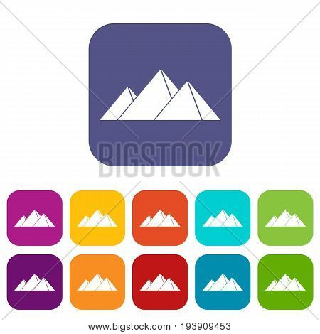 Pyramids in Giza icons set vector illustration in flat style In colors red, blue, green and other