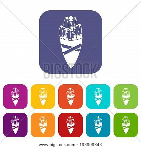 Bouquet of tulip flowers icons set vector illustration in flat style In colors red, blue, green and other