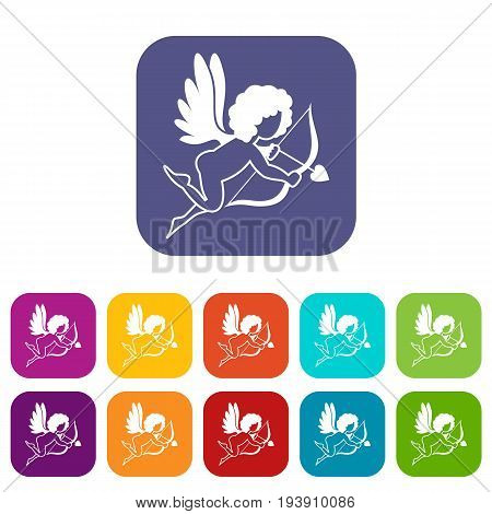Love Cupid icons set vector illustration in flat style In colors red, blue, green and other