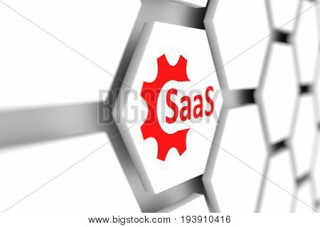 SaaS cell gear wheal blurred background 3d illustration