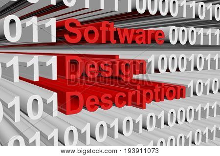 Software design description in the form of binary code, 3D illustration