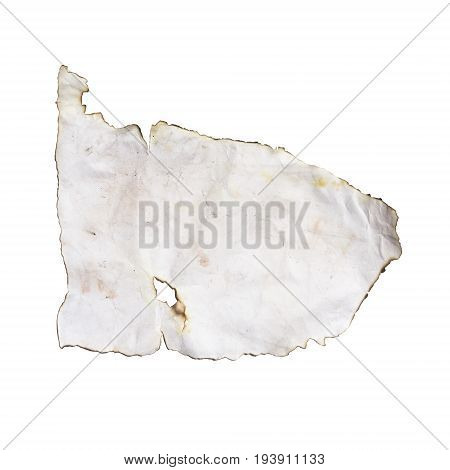 Old paper texture isolated on white background. Burnt vintage sheet of paper.