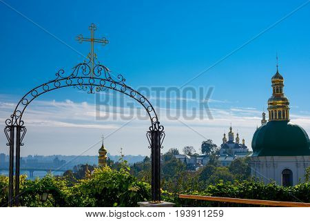 Kiev-Pechersk Lavra against the blue sky. Kiev