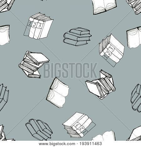 Seamless vector doodle pattern with books. Library hand drawn sketchy illustration. Reading and education concept. Black and white art on blue grey background