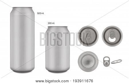 Realistic collection of Aluminium Can Empty 500 and 330 ml. with copy space Isolated on white background and clipping path