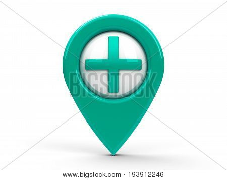 Blue/green map pointer with plus icon isolated on white background represents pharmacy hospital medicine clinic etc. three-dimensional rendering 3D illustration