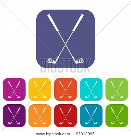 Two golf clubs icons set vector illustration in flat style In colors red, blue, green and other