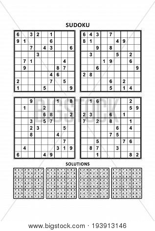 Four sudoku puzzles of comfortable (easy, yet not very easy) level, on A4 or Letter sized page with margins, suitable for large print books, answers included. Set 6.