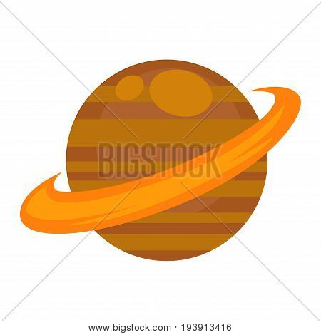 Saturn planet isolated on white vector flat illustration in graphic design. Astronomical body, where do not live people, with its orbit in orange-brown color and in round shape closeup poster